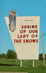 Shrine Entrance, Our Lady of the Snows, Belleville IL (SwellMap) Tags: road signs monument public sign vintage advertising design 60s highway gate arch fifties message postcard suburbia entrance style kitsch retro billboard route nostalgia chrome freeway gateway billboards americana 50s lettering welcome roadside populuxe sixties babyboomer consumer coldwar midcentury spaceage atomicage archwaypc