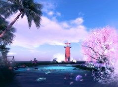 little pastel lighthouse (___rei) Tags: ocean pink blue sea sky lighthouse lake blur tower nature water colors clouds landscape 3d spring screenshot blurry pond scenery aqua pastel dream bluesky screenshots sl palmtrees filter secondlife virtual palmtree pastels lush filters lucid edit edits pinkflowers virtualworld purpleclouds