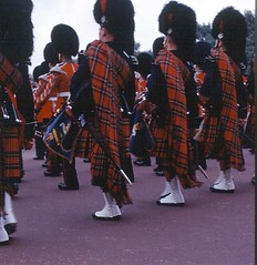 Scots GUards, pipers, London 1971 (scotmilpics) Tags: london drums military pipes parades soldiers uniforms kilts britisharmy ceremonial scottishregiments troopingthecolour scotsguards