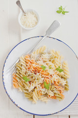 colorful pasta with cheese (Kate Morozova) Tags: food cheese dinner canon lunch colorful 50mm14 pasta basil foodphoto 500d