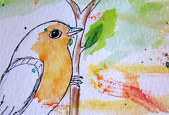 Rotkehlchen (European Robin) (tangledpen) Tags: watercolor drawing greenleaf birdinorange