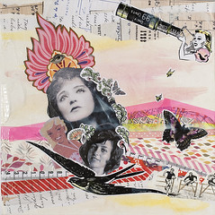 Divas (itsme design) Tags: original newyork schilder sport collage japan lady illustration neon assemblage kunst retro frau diva vogel fliegen maskingtape kopf kleben schwarzweis