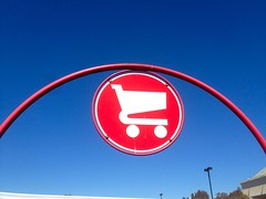 Red Shopping Cart Sign (Lynn Friedman) Tags: ca red sign shop parkinglot symbol shoppingcart target consumerism sanmateo consumer