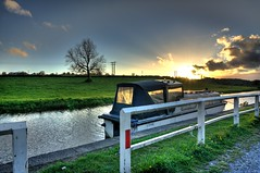 Sunset by the canal (Mad_m4tty) Tags: sunset sun tree field boat canal yorkshire barge hdr towpath rodley