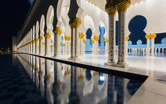 mosque sheikh zayed - abu dhabi (Cem Bayir photography) Tags: light reflection water architecture night gold exposure teal uae wideangle mosque arabic led abudhabi moschee iloveuae sheikhzayedmosque