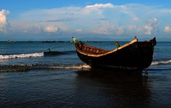 Exploring the Blue (Khallid Rahman) Tags: travel beach clouds boat colours outdoor nopeople bangladesh clearsky colourphoto colourimage withoutpeople nikond5000 catchtheblue