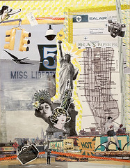 NY-Miss Liberty (itsme design) Tags: original newyork schilder sport collage japan lady illustration neon assemblage kunst retro frau diva vogel fliegen maskingtape kopf kleben schwarzweis