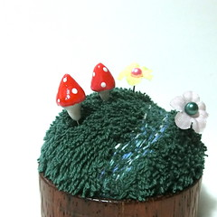 Fairy garden pincushion - Deep Forest Small (raycious) Tags: wood red flower cute green mushroom forest woodland garden miniature wooden magic rustic waldorf decoration australia mini brisbane fairy earthy fantasy fungus kawaii toadstool pincushion etsy recycle decor magical turning polkadot woodcraft woodturning minitual