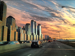 New York State of Mind (Daniel Romaikin) Tags: world new york nyc sunset sky sun ny newyork west sexy cars beautiful architecture brooklyn clouds scrapers sunrise buildings river island photography newjersey highway allie earth bronx manhattan side center dailycommute robots single hudson trade housewife ratchet obedient
