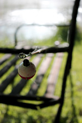 Untitled (michellezigler) Tags: green nature grass canon bench rebel fishing bokeh pole fishingpole t3i dlsr canonrebelt3i