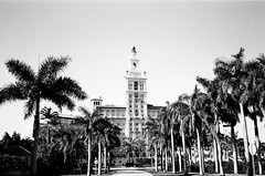 Biltmore Hotel Coral Gables (Phillip Pessar) Tags: camera bw white black film coral analog 35mm freedom hotel minolta florida kodak miami places historic national register biltmore dual gables tx400