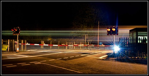 Train light trails at St Fagans Level Crossing, Cardiff