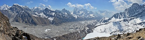 Everest, Lhotse, Ngozumpa glacier, Gokyo et Gokyo Tsho depuis Gokyo Ri