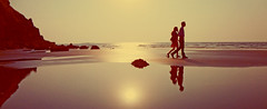 Lovers (PhotoScientist) Tags: friends sunset sun reflection classic love beach water colors contrast photography sand alone shadows slow empty sony 70s hanging faceless pointandshoot backlit joyous loveisintheair ratnagiri icapture wx50 sonywx50 bhattey
