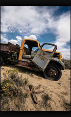 Last Breath (Geoff ☆ RT Ficiel ☆) Tags: nikon d700 1635vr oldtruck door fan abandoned decay flattire desert mountain bluesky clouds colorado usa