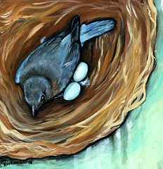 Nesting Instincts (Kimberly Naumann) Tags: bird painting artist acrylic folkart outsiderart nest contemporaryart canadian eggs bluebird acrylicpainting blueeggs canadianart fo