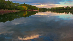 Sunset at Carburn Park Lake (LostMyHeadache: Absolutely Free *) Tags: trees sunset sky nature water clouds canon reflections evening spring twilight dusk scenic foliage later davidsmith calgaryalbertacanada eos60d