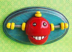 3D Robot Wall Art - Chewing Bot - Red Shabby Chic Robot Artwork (HerArtSheLoves) Tags: wood red brown smiling yellow plaque happy robot wire mixedmedia happiness polymerclay oval shabbychic 3dwallart robotteeth