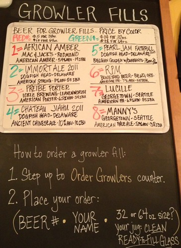 Opening draft choices for growler fills @99bottlesbeer, 10AM 5/16/2013 — rare & vintage @dogfishbeer ! Limits removed.