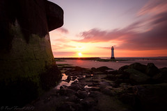 New Brighton sunset from a different angle (Paul Farrell 2013) Tags: longexposure sunset cloud lighthouse beach movement fort newbrighton perchrock lighthousetrek