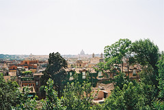 rome skyline (Andrew Ridley) Tags: travel trees italy sun stpeters rome color colour roma film gardens skyline architecture analog 35mm spring europe italia rooftops kodak roman basilica may analogue yashica yashicaelectro35 yashicaelectro35gx 2013 kodakektar100