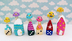 Mini Bird House Sculptures (Pig & Pumpkin) Tags: sculpture dice cute birds fun colorful mixedmedia sculptures birdhouses paperclay