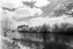 Ferry Bridge Power Station (Saturated Imagery) Tags: blackandwhite film 35mm river ir iso400 infrared riveraire kodakhie ferrybridge aireandcaldernavigation prakticatl5b