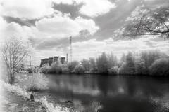Ferry Bridge Power Station (Saturated Imagery) Tags: blackandwhite film 35mm river ir iso400 infrared riveraire kodakhie ferrybridge aireandcaldernavigation prakticatl5b