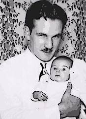 My Father with his Daughter (Digital Woodcut) (randubnick) Tags: art photograph painter iphoto woodcut posterized digitallymanipulatedphoto rescuedsnapshot