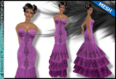 Mesh Tiered Lace Mermaid Gown in Purple (Sweet Distractions) Tags: life mesh sweet lace sl bridesmaid second gown mermaid rigged distractions