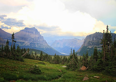 Scenic Landscape at Glacier National Park, Montana (` Toshio ') Tags: usa cloud mountain west tree green nature grass america landscape montana path valley bigsky glaciernationalpark toshio loganspass
