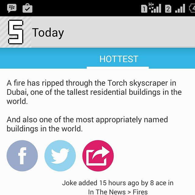 Off #sickipedia   A fire has ripped through the Torch skyscraper in Dubai, one of the tallest residential buildings in the world.     And also one of the most appropriately named buildings in the world.