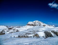 (chiara.poire) Tags: blue winter sky people italy snow landscape italia blu persone cielo neve inverno trentino dolomiti monti pordoi fassa dolomits valdifassa saspordoi