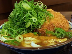 Curry udon topped with deep-fried pork and huge sliced spring onion from Marugame Seimen @ Roppongi (Fuyuhiko) Tags: from tokyo udon うどん spring with curry pork fries huge roppongi 東京 onion sliced topped deepfried カレー 六本木 marugame カレーうどん seimen 丸亀製麺 六本木ティーキューブ店 ディーキューブ