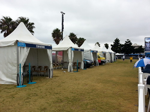 Team tents for the Cadel Evans Great Ocean Road Race