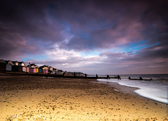 IMGP4925dev (p.g604) Tags: morning pink blue sea england english beach yellow clouds pier huts mauve essex channel walton naze