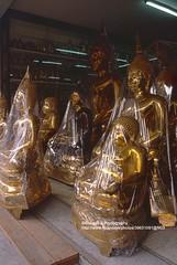 Bangkok, New Buddha statues (blauepics) Tags: road city statue bronze thailand gold bangkok buddha religion buddhism thai stadt bronce buddhismus bamrung muand