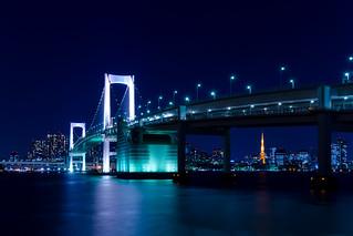 Tokyo Tower and Rainbow Bridge - from Tokyo Daiba