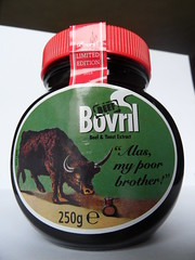 Bovril reprint (Nekoglyph) Tags: old red food green vintage advertising beef label crying bull jar yeast limitededition bovril extract 2015 reprint