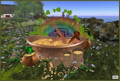 Leprechaun Gold bath (AliceMayG) Tags: flowers forest gold rainbow coins boudoir barefeet bathing shamrocks redheads stpatricksday potofgold