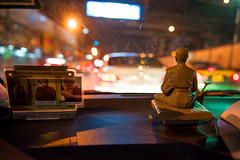 Life is a journey, not a race (Thibaud Saintin) Tags: street streets car night thailand nightlights traffic bangkok cab taxi religion streetlife transportation nightlife meditation windshield krungthep totallythailand