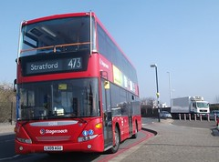 Stagecoach London 15088 on route 473 North Woolwich 20/03/15. (Ledlon89) Tags: bus london buses transport omni scania londonbus northwoolwich stagecoachlondon