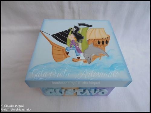 """Caixa para ganchinhos, caixas de recordações bebé e placas de porta """"Piratas&Sereias"""""""