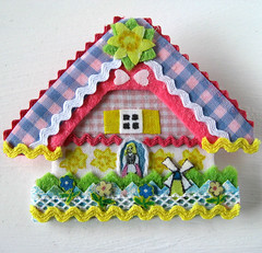 daffodil house pin (bewitchedmagic) Tags: pink flowers house floral windmill dutch yellow easter spring pin brooch cottage gingham daffodil chalet etsy applique mothersday laurieduncan ricrac happyasalark