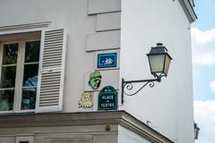 Place du Tertre Street Sign (Serendigity) Tags: city paris france window graffiti streetlamp montmartre shutters