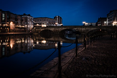 On the Waterfront (jasonmgabriel) Tags: york city bridge blue reflection building night river chain posts cobbles ouse