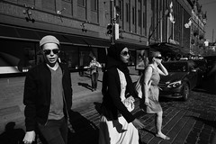 Portrait of three pedestrians (HKI DRFTR) Tags: life portrait people urban blackandwhite sunlight sunshine contrast finland helsinki europe candid streetportrait wideangle compo casual moment tones manualfocus socialdocumentary decisivemoment uwa zonefocusing