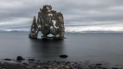 The Beast from 20.000 Fathoms ;) (lunaryuna (back from Iceland and catching up)) Tags: longexposure panorama seascape beauty rock landscape coast iceland ngc textures le legends fjord monolith lunaryuna seastack hvitserkur northwesticeland petrifiedtroll