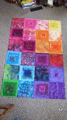 Rainbow Quilt Top (KristinVictoria) Tags: pink blue orange detail green art home colors thread yellow work studio rainbow log cabin artist colours purple quilt top sewing details blues sew busy needle greens quilting blocks block oranges create rainbows yellows creating werk pinks purples