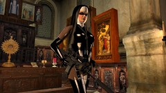 Pass the ammo (alexandriabrangwin) Tags: world black eye church stockings fetish computer religious 3d outfit graphics shiny uniform with habit scope rifle fishnet rubber nun nuns altar glossy gloves secondlife virtual strap laser latex corset guns sight transparent m4 cgi imagery telescopic suspender suppressor sopmod alexandriabrangwin